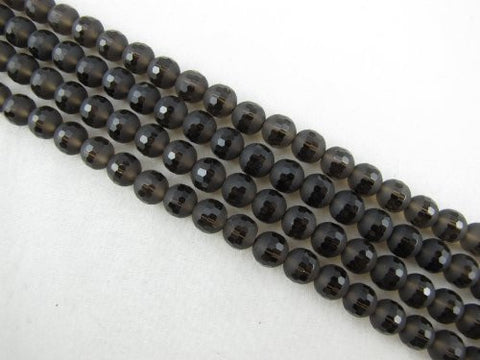 Quartz Natural Smoky Quartz Beads With One Matt Line Bown Color Round Shape 8mm 51pcs 15.5''