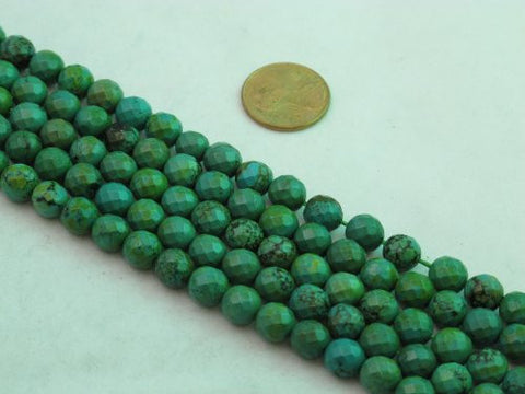 Nature Chinese Turquoise Round Faceted Green 8mm 15'' Per Strand 52pcs