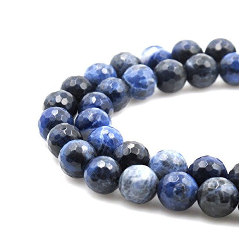 BRCbeads Gorgeous Faceted Sodalite Gemstone Round Loose Beads 12mm Approxi 15.5 inch 30pcs 1 Strand per Bag for Jewelry Making
