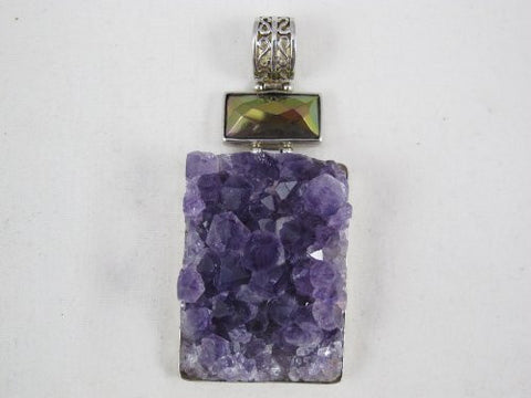 Amethyst Pendant With Steeling Silver 925 Bezel and Hook Square Shape 2 Inchs To 3 Inchs Jewelry Making