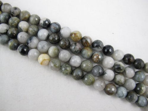Eagle Eye Agate Natural Gemstone Faceted Round 10mm 39pcs 15.5'' Per Strand