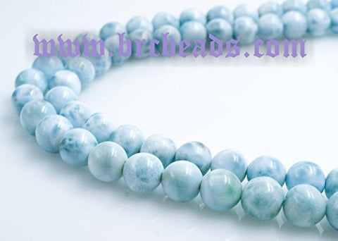 "Natural Larimar A Grade Gemstone Dominican Larimar 7mm Round 15.5"" Per Strand Jewelry Making&design Beading( 1 strand)"