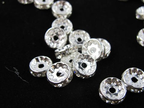 100 Pcs Glass Crystal Rondelle Spacer Bead Silver Plated 10mm Crystal White