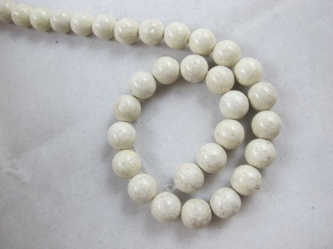 Fossil Beads Nature Fossil White Color Round 12mm 34pcs 16''per Strand