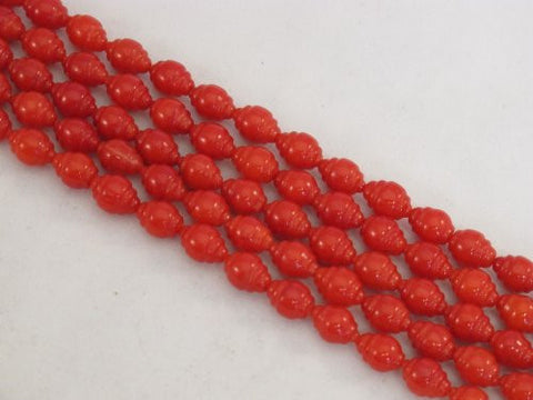 Coral Beads Bamboo Coral Dyed Red Color 6x9mm Whorl Rice Shape 48pcs 16'' Per Strand