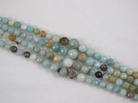 Amazonite Natural Gemstone Beads Faceted Gradualed Round Blue/yellow Color 6-12mm 57pcs 16'' Jewelry Making Beads