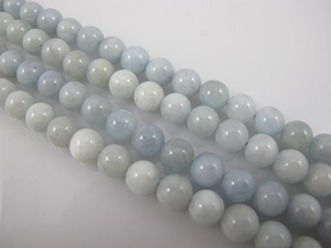 Aquamarine Natural Gemstone Beads AB Grand 7.5-8mm Round Blue/white Color pcs 16''per Strand