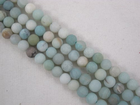 Amazonite Natural Gemstone Beads Matte Blue/yellow Color 6mm Round 66pcs 15.5'' Jewelry Making Beads