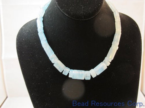 "Nature Aquamarine Gemstone A Grade Beads Facted Tube 18""per Strand Necklace Jewelry Making"