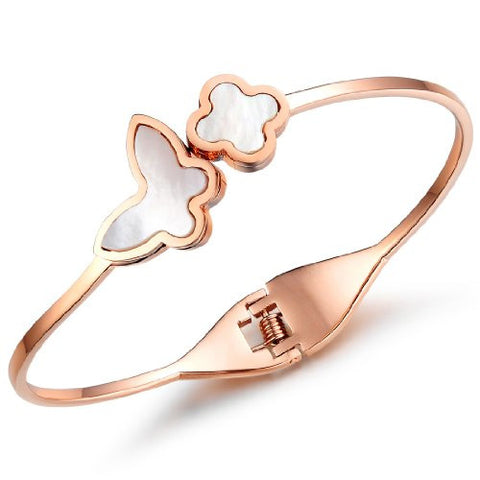 BoRuo 316L Stainless Steel IP Rose Gold Plated Natural Shell Flower Butterfly Charm Bracelet 6.69 Inch