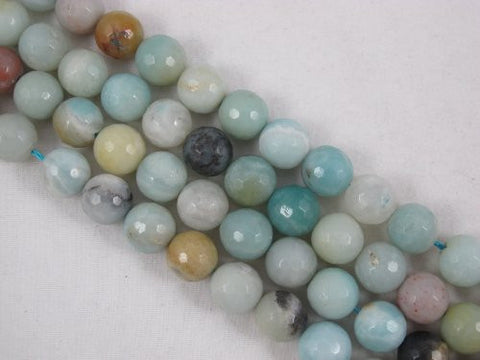 Amazonite Natural Gemstone Beads Blue/yellow Color Faceted 12mm Round  15.5'' Jewelry Making Beads