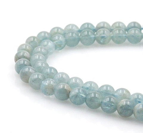 BRCbeads Gorgeous Natural Aquamarine Gemstone Round Loose Beads 7mm Approxi 15.5 inch 55pcs 1 Strand per Bag for Jewelry Making