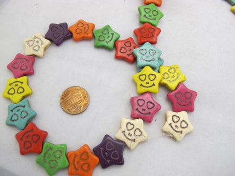 Howlite Dyed Multi-color Star Shape Beads 18x20mm 23pcs 16'' Per Strand