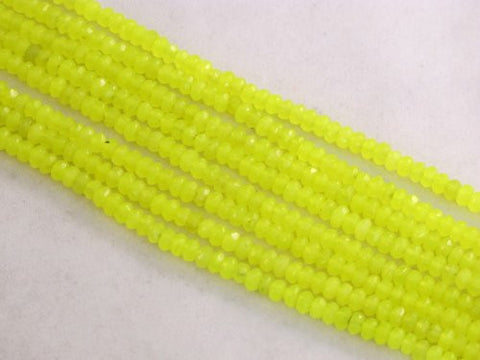 Mountain Jade (Dyed) Yellow Color 2x4mm Rondelle 160pcs 15.5'' Per Strand