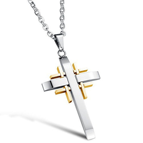 BoRuo 316L Stainless Steel Silver Gold Tone Fashion Cross Pendant Necklace with 20 inch Chain for Man