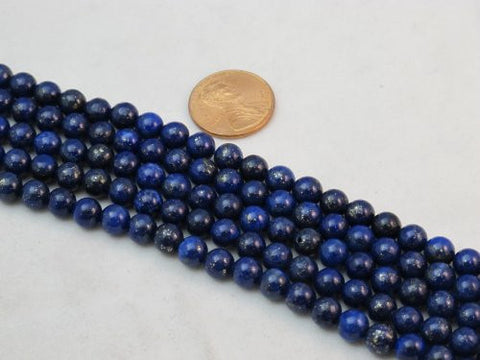 Lapis Lazuli 6mm Round 15.5'' Strand Mohs Hardness 5 to 6 Blue Gemstone
