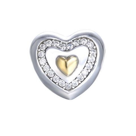 BoRuo 925 Sterling Heart Shape Charms Beads With Cubic Zirconia Fit Pandora Bracelet. Best gift for Valentine's Day, Mother's Day, Birthday, and Last Forever!