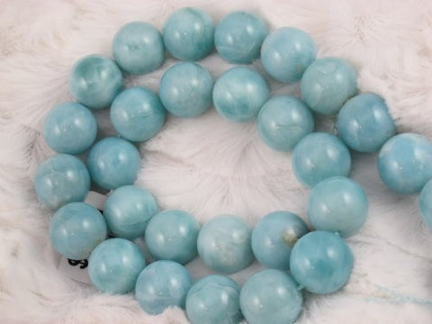 "Natural Larimar A Grade Gemstone Dominican Larimar 14mm Round 28pcs 15.5"" Per Strand Jewelry Making&design Beading"