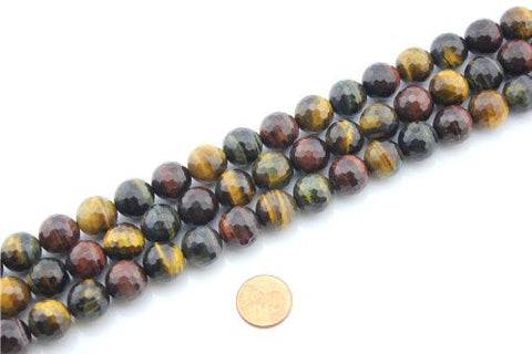 Tiger Eye Natural Gemstone Multi-color Faceted Round Shape 12mm 32pcs 15.5''per Strand Jewelry Making Beads