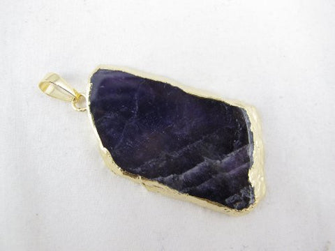 Amethyst Pendant With Gold Bezel One Hook Irregular Shape Approx 2'' Jewelry Making