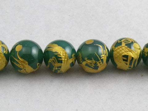 Nature Aventurine Round Carving Gold Dragen 14mm 28pcs Per Strand 15.5''