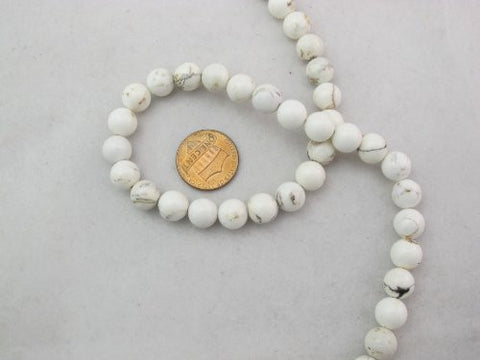 Magnesite Turqoise Dyed White Color Round Beads 8mm 47pcs 16'' Per Strand