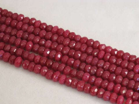 Mountain Jade (Dyed) Red Color 5x8mm Rondelle 76pcs 15.5'' Per Strand