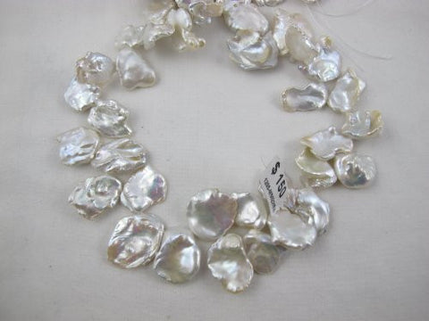 Freshwater Pearl Beads Free Shape White Color 15-20mm 40pcs 15.5 Inch Per Strand