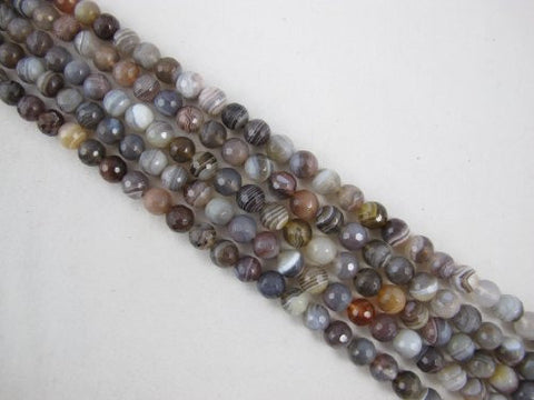 Agate Natural Gemstone Botswana Agate Brown Color Faceted Round 8mm 46pcs 15.5'' Per Strand Beads