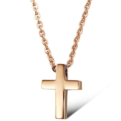 BoRuo 316L Stainless Steel Rose Gold Plated Cross Pendant Necklace with 16 inch Chain for Man and Woman