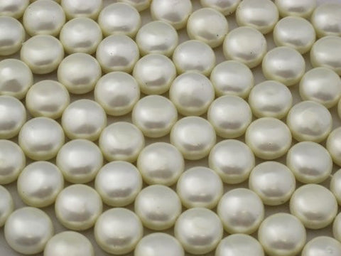 Shell Pearl White Oblate Shape 15mm in Diameter 27pcs 15''per Strand
