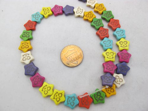 Howlite Dyed Multi-color Star Shape Beads 12x13mm 38pcs 16'' Per Strand