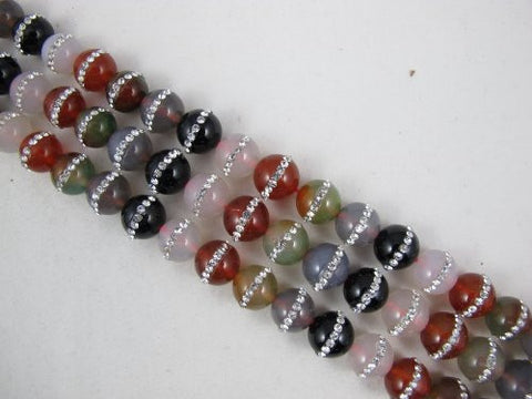 Agate Natural Gemstone Fire Agate Dyed Multi Color Round Shape 12mm 33pcs 15.5'' Per Strand Beads