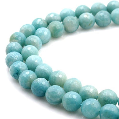 BRCbeads Gorgeous Natural Amazonite Gemstone Faceted Round Loose Beads 12mm Approxi 15.5 inch 30pcs 1 Strand per Bag for Jewelry Making
