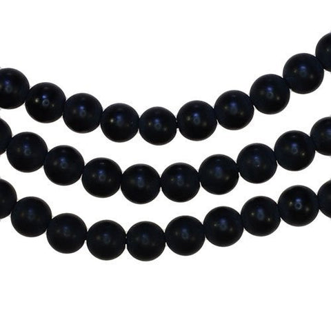 Black Onyx 6mm Matte Round Smooth Bead Strands 15""