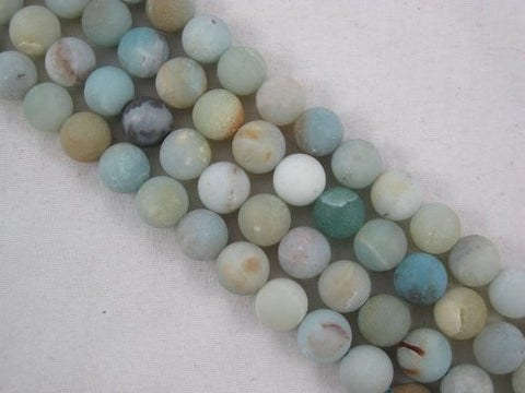 Amazonite Natural Gemstone Beads Matte Blue/yellow Color 8mm Round 47pcs 15.5'' Jewelry Making Beads