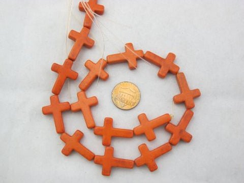 Howlite Dyed Orange Color Cross Beads 18x25mm 16pcs 17'' Per Strand