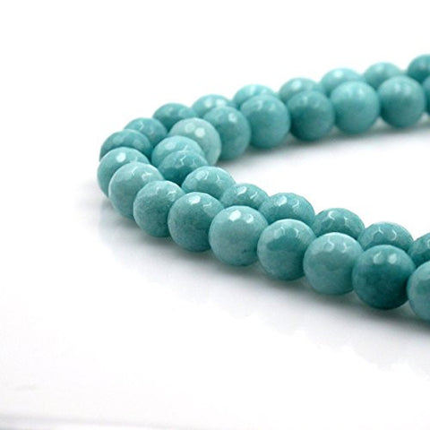 Brcbeads Gorgeous Faceted Light Blue Dyed Jade Gemstone Round Loose Beads 10mm Approxi 15.5 Inch 35pcs 1 Strand Per Bag for Jewelry Making