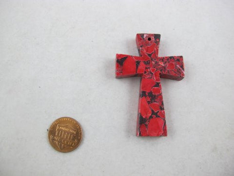 Howlite Pendant Dyed Red Color Cross Shape Beads 40x60mm