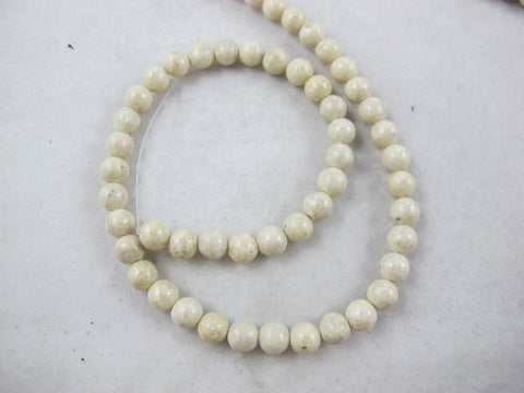 Fossil Beads Nature Fossil White Color Round 6mm 65pcs 16''per Strand