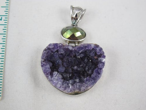 Amethyst Pendant With Steeling Silver 925 Bezel and Hook Heart Shape 2 Inchs To 3 Inchs Jewelry Making