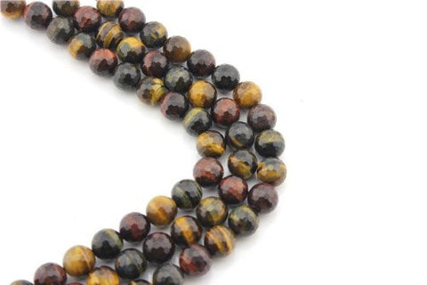 Tiger Eye Natural Gemstone Multi-color Faceted Round Shape 14mm 28pcs 15.5''per Strand Jewelry Making Beads