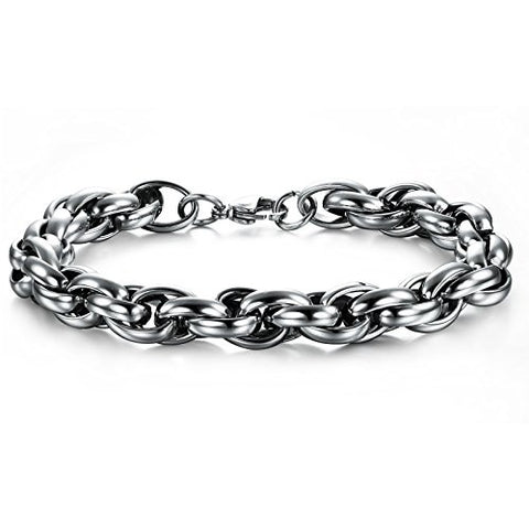 BoRuo 316L Stainless Steel Wide Silver Byzantine Style Link Bracelet High Polished 8.66 Inch
