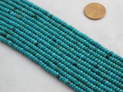 Nature Chinese Turquoise Roundell Blue-green 2*4mm 16'' Per Strand 164pcs