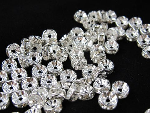 100 Pcs Glass Crystal Rondelle Spacer Bead Silver Plated 8mm Crystal White