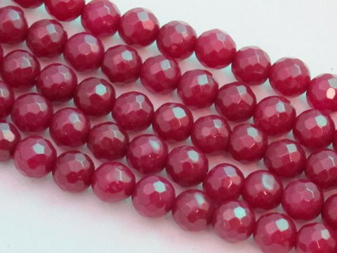 Mountain Jade (Dyed) Dark Red 6mm Faceted Round 15.5'' 62pcs Per Strand