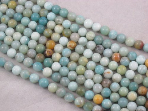 Amazonite Natural Gemstone Beads Blue/yellow Color 8mm Round 48pcs 15.5'' Jewelry Making Beads