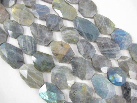 Natural Labradorite B Grade Gemstone Faceted Free Shape 20x33mm 10pcs Per Strand 15.5''