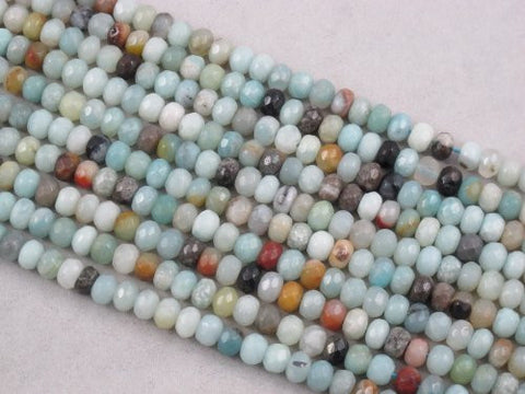 Amazonite Natural Gemstone Beads Blue/yellow Color 4x6mm Faceted Rondelle 88pcs 15.5'' Jewelry Making Beads