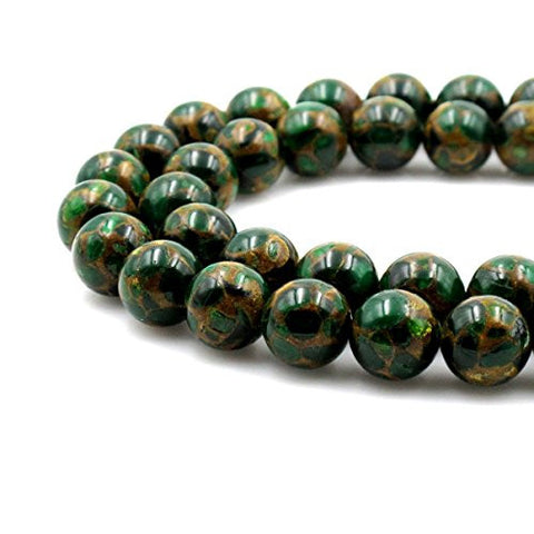 BRCbeads Gorgeous Synthetic Green Mosaic Quartz Gemstone Round Loose Beads 6mm Approxi 15.5 inch 60pcs 1 Strand per Bag for Jewelry Making
